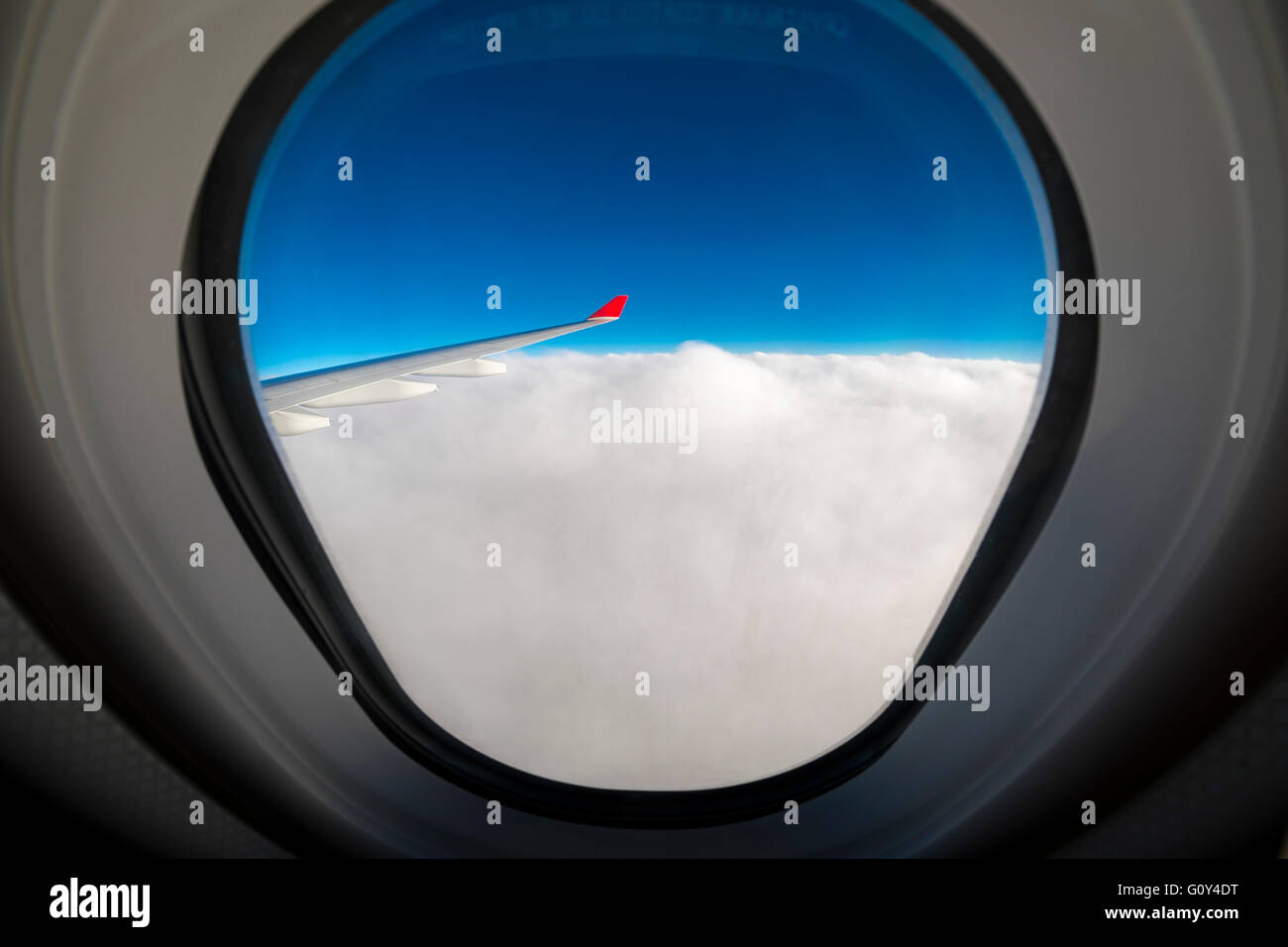 View from an airplane window - Stock Image