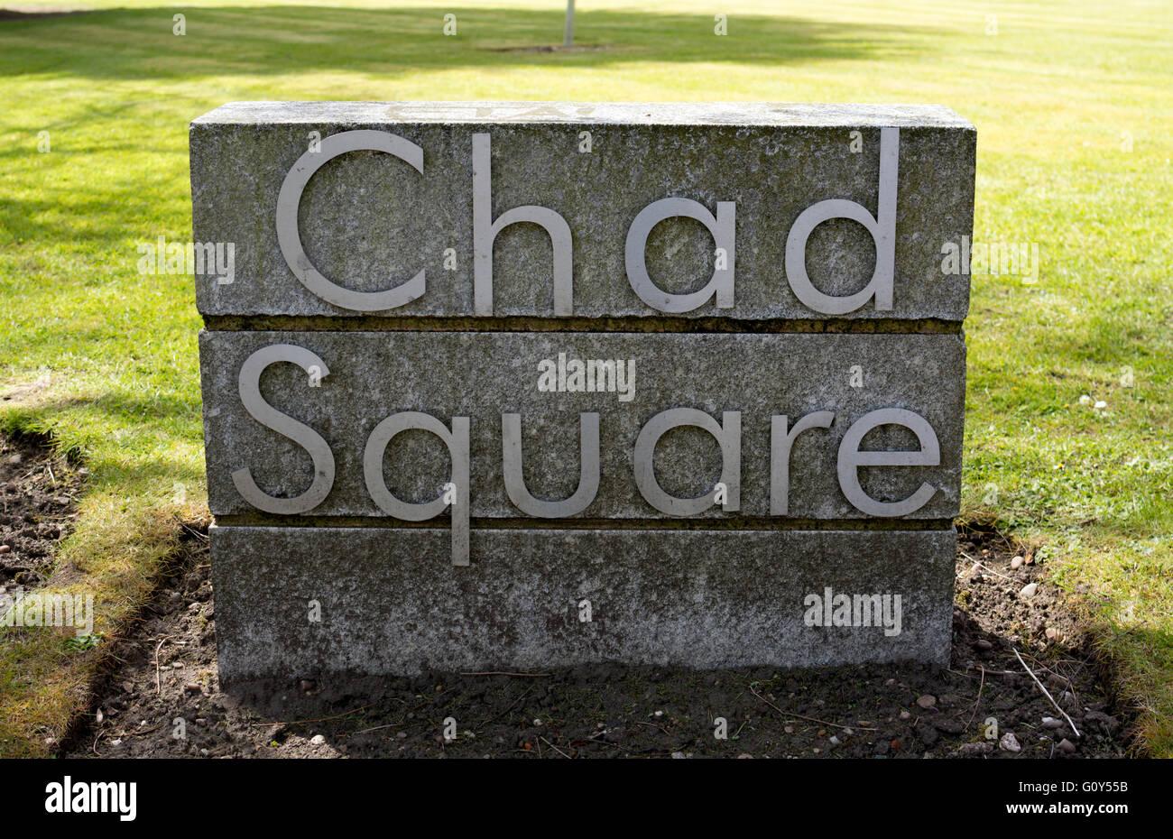 Chad Square sign, Chad Valley, Birmingham, UK Stock Photo