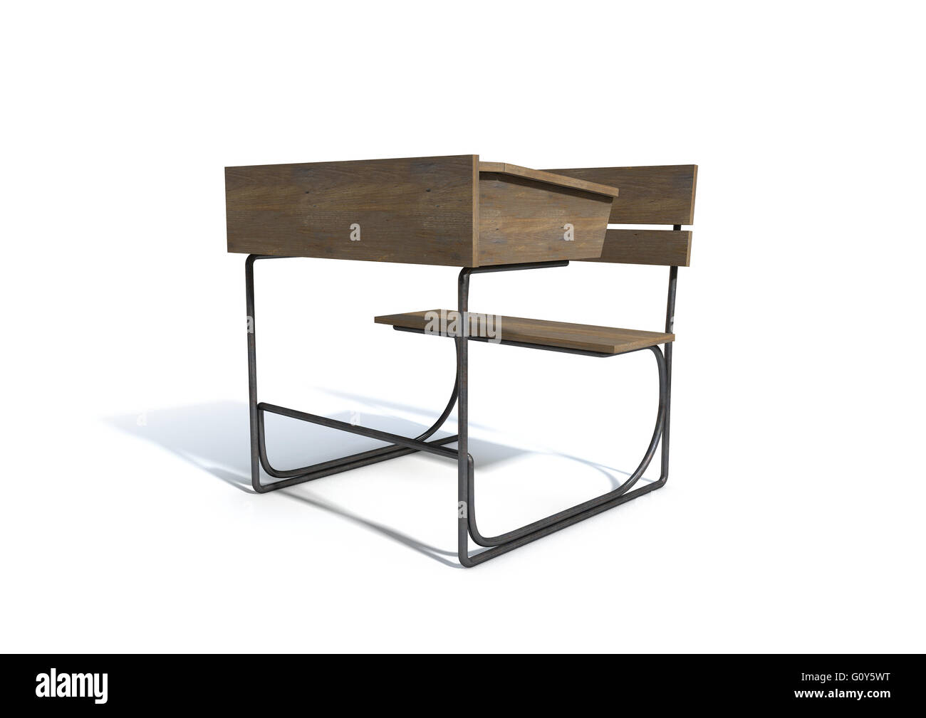 Fantastic A 3D Rendering Of A Vintage Wooden School Desk With A Hinged Pdpeps Interior Chair Design Pdpepsorg