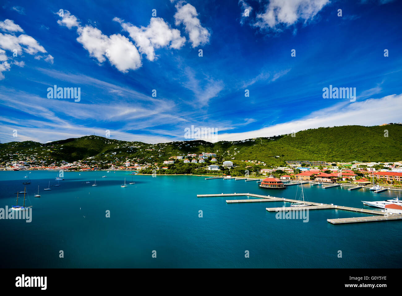Sunset in St. Thomas from Carnival Cruise Stock Photo