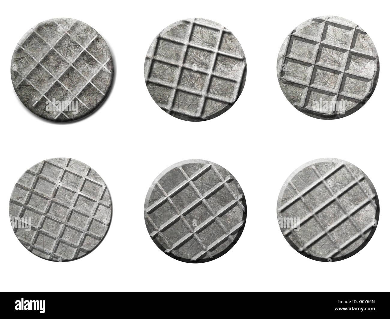 New iron nail heads on white background - Stock Image