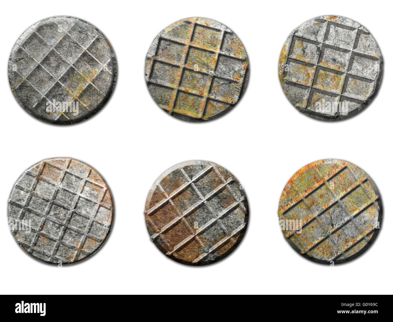 Old Rusty Nail Heads Image isolated on white - Stock Image