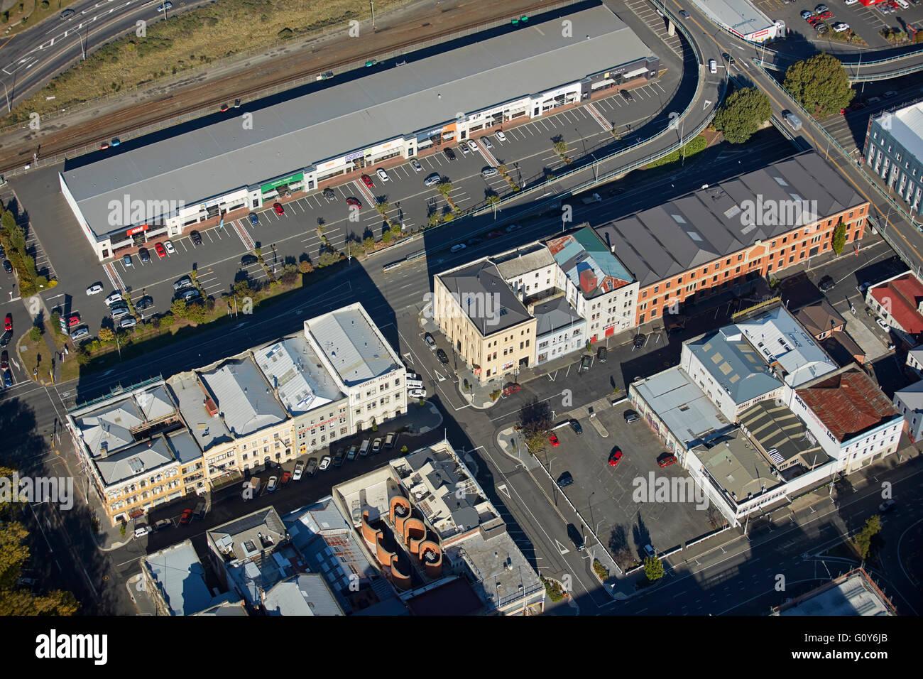 Vogel Street, historic and IT precinct, Dunedin, Otago, South Island, New Zealand - aerial - Stock Image