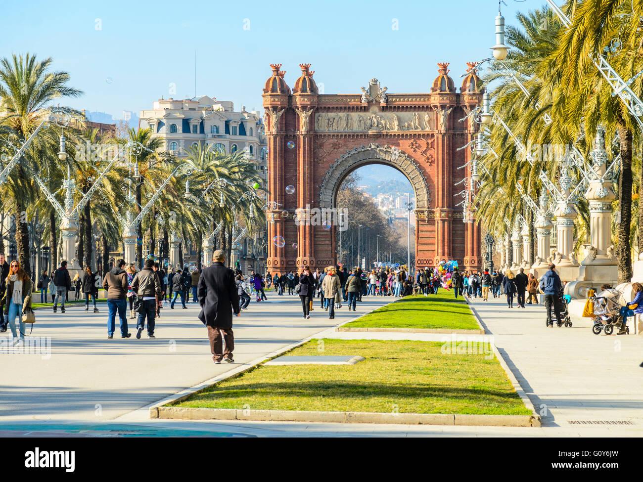 Arco de Triunfo de Barcelona aka Arc de Triomf, Passeig de Lluís Companys, Barcelona, Spain Stock Photo