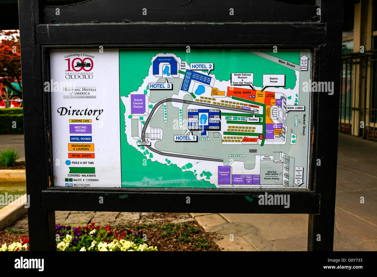 Chattanooga ChooChoo Station Hotel area map in downtown Chattanooga
