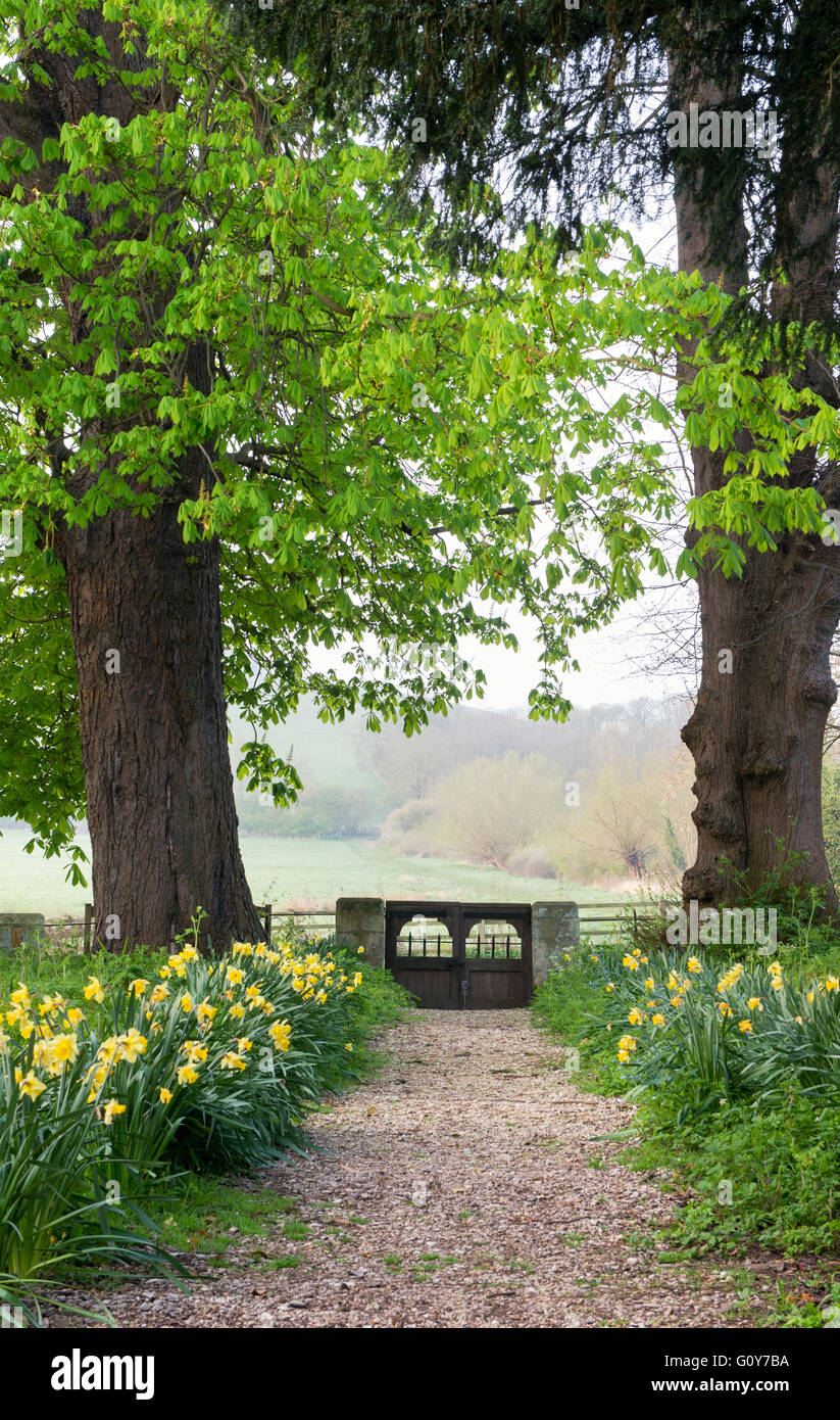 St Peters church path and gate, Little Wittenham, South Oxfordshire, England - Stock Image