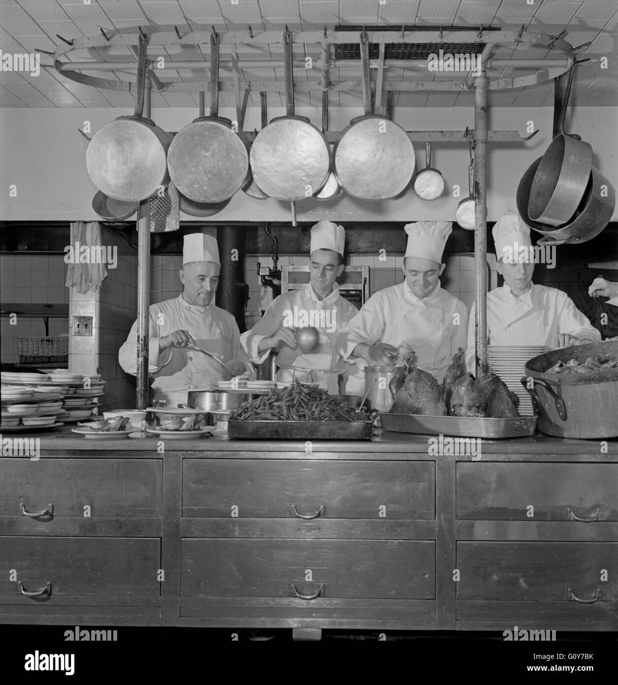 Chefs In Kitchen Of One Of The Fred Harvey Restaurants Union Stock