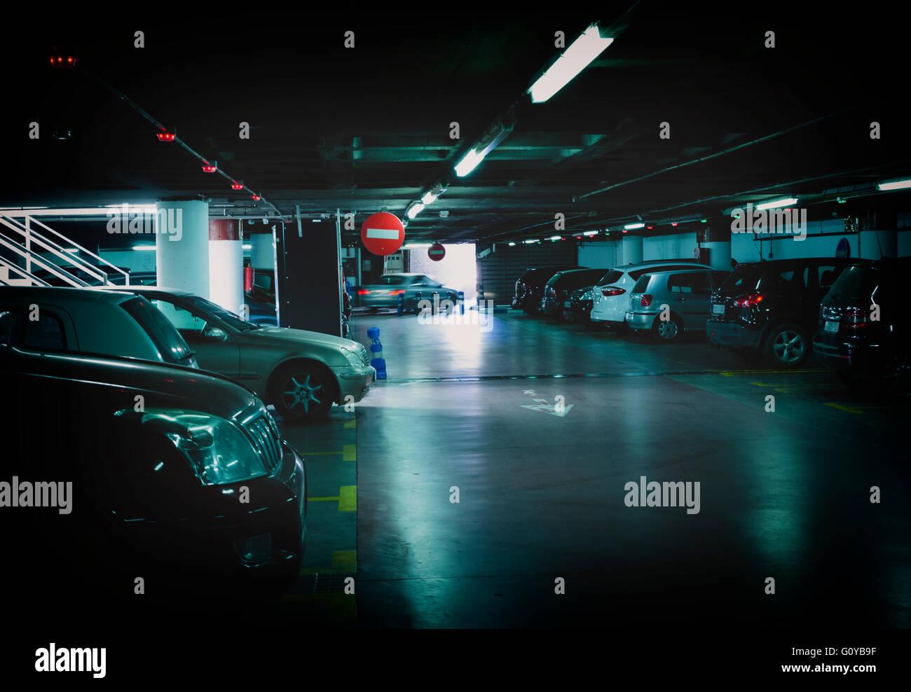Undergound parking garage, Malaga, Spain.  This is the Plaza de la Marina garage. - Stock Image