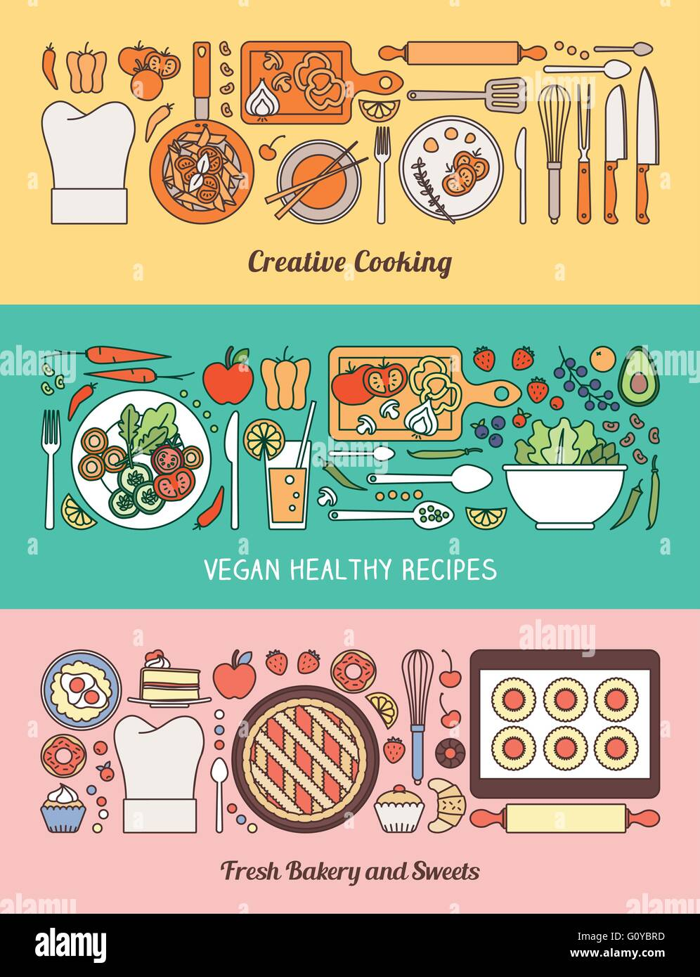 Food, cooking and healthy eating banner set with kitchen utensils, recipes, vegetables and baked home made sweets - Stock Vector