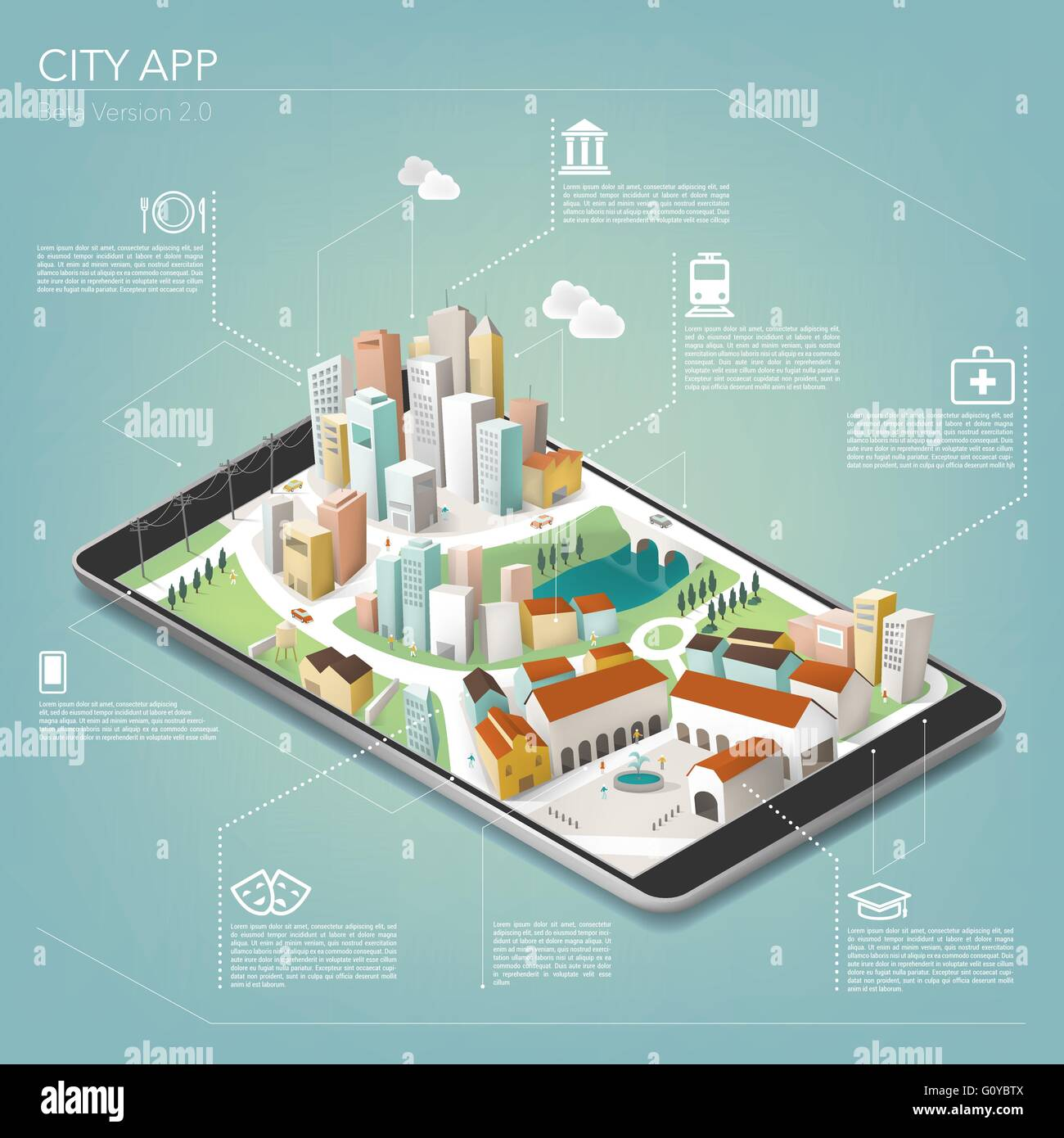 3D city on a mobile app with text and icons, mobile and augmented reality concept - Stock Vector