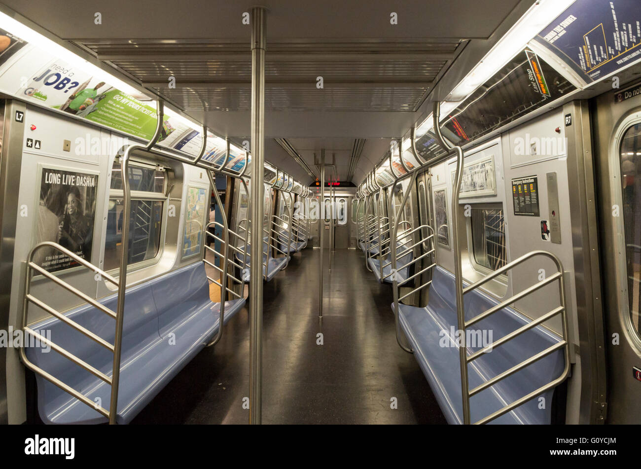 Interior of empty New York City subway train (no people, nobody) - Stock Image