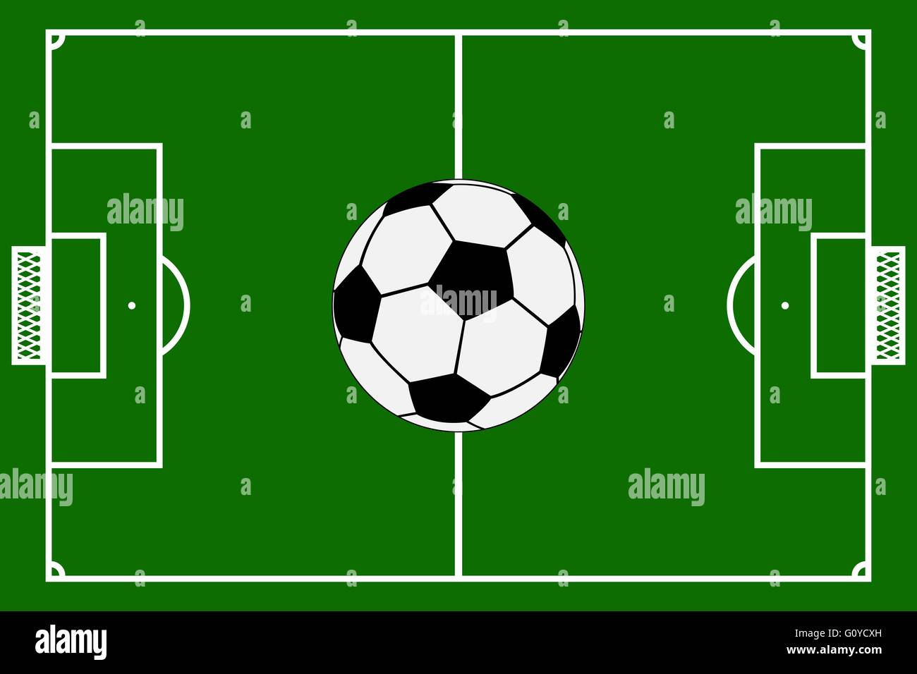 Template Realistic Football Field With Lines And Gates Vector I