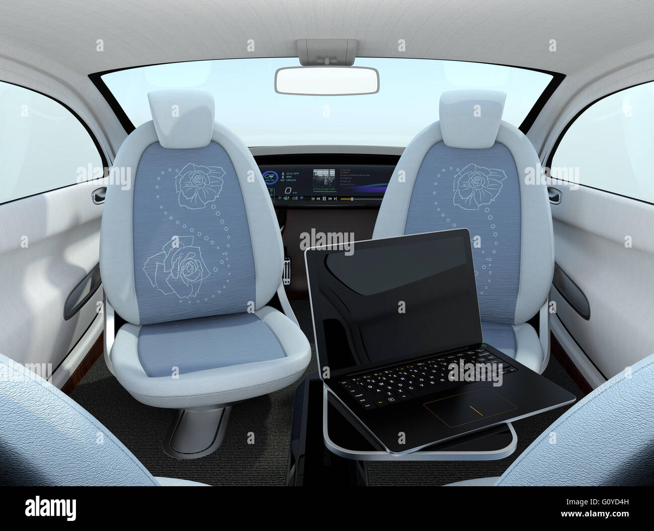 self driving car interior concept front seats could turn backward stock photo 103865233 alamy. Black Bedroom Furniture Sets. Home Design Ideas