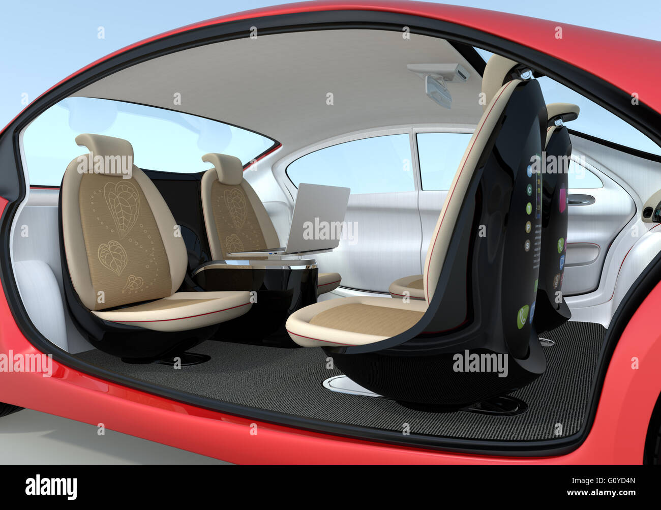 self driving car interior concept driver seats could turned to rear stock photo 103865237 alamy. Black Bedroom Furniture Sets. Home Design Ideas