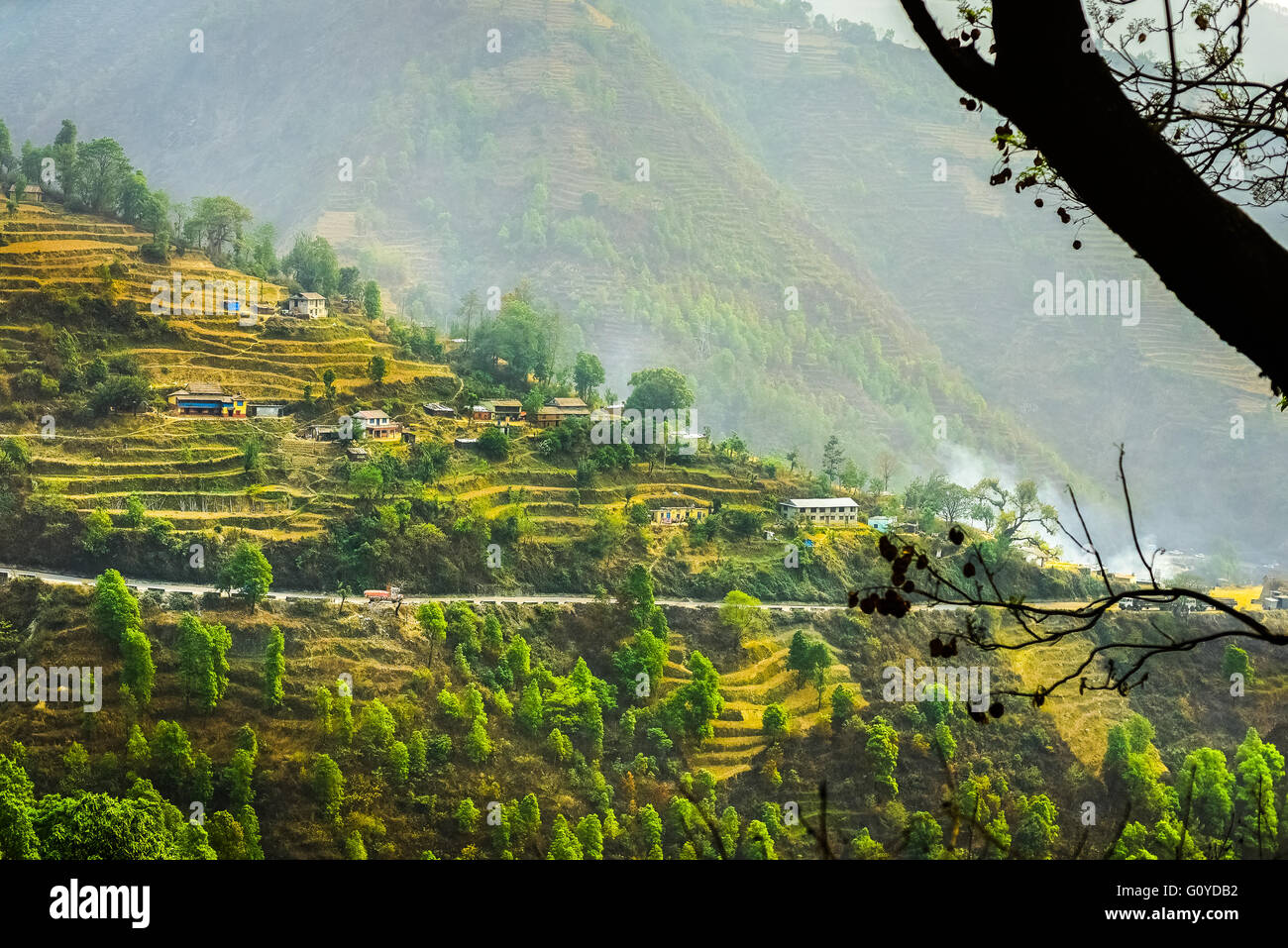 Landscape of agricultural terraces between Bhaktapur and Dhulikhel in Nepal. © Reynold Sumayku - Stock Image