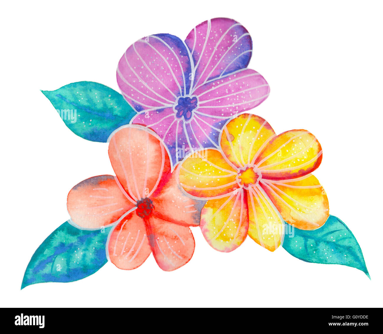Watercolor Flowers On White Background Beautiful Colorful Summer