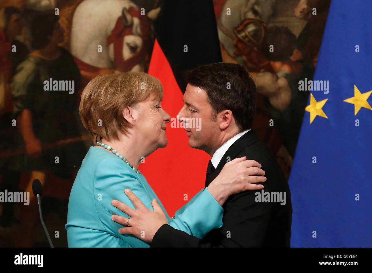 Rome, Italy. 5th May, 2016. Angela Merkel and Matteo Renzi Rome 5th May 2016. Italian premier meets the German Chancellor. - Stock Image