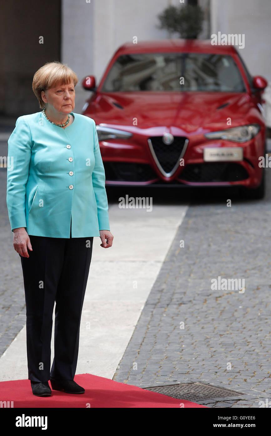 Rome, Italy. 5th May, 2016. Angela Merkel Rome 5th May 2016. Italian premier meets the German Chancellor. Photo - Stock Image