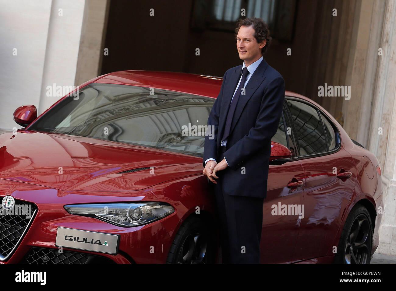 Rome, Italy. 5th May, 2016. John Elkann, President of Fiat Chrysler Automobiles Rome 5th May 2016. Presentation Stock Photo