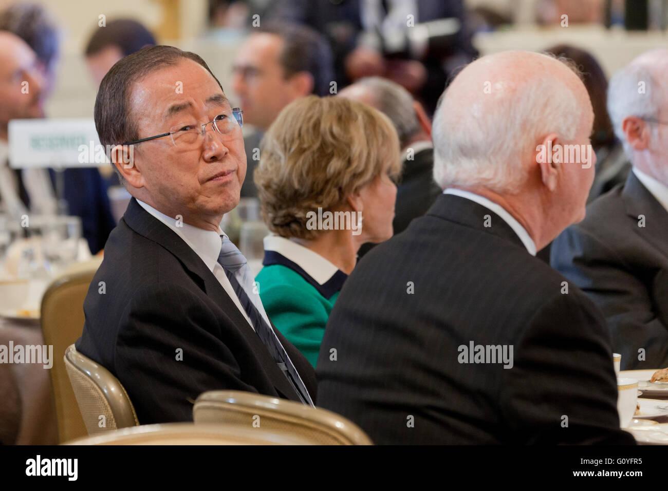 Washington, DC USA. 5th May, 2016:Climate Action 2016 Summit brings global leaders to Washington, DC.  UN Secretary Stock Photo