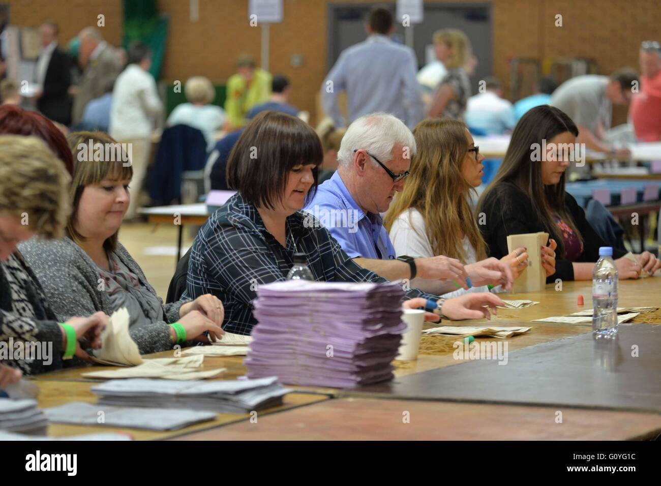 Election UK Neath Wales Thursday 5th May 2016 The Welsh Assembly election count starts at Neath Leisure Center in - Stock Image