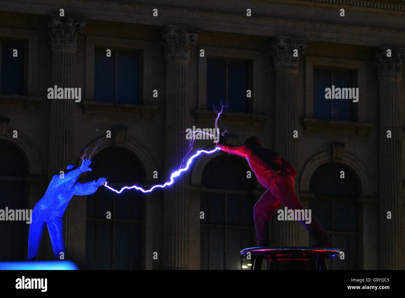 BUCHAREST, ROMANIA – 5 MAY 2016: World premiere of a new routine from UK Tesla Coil artistes, The Masters of Lightning - Stock Image