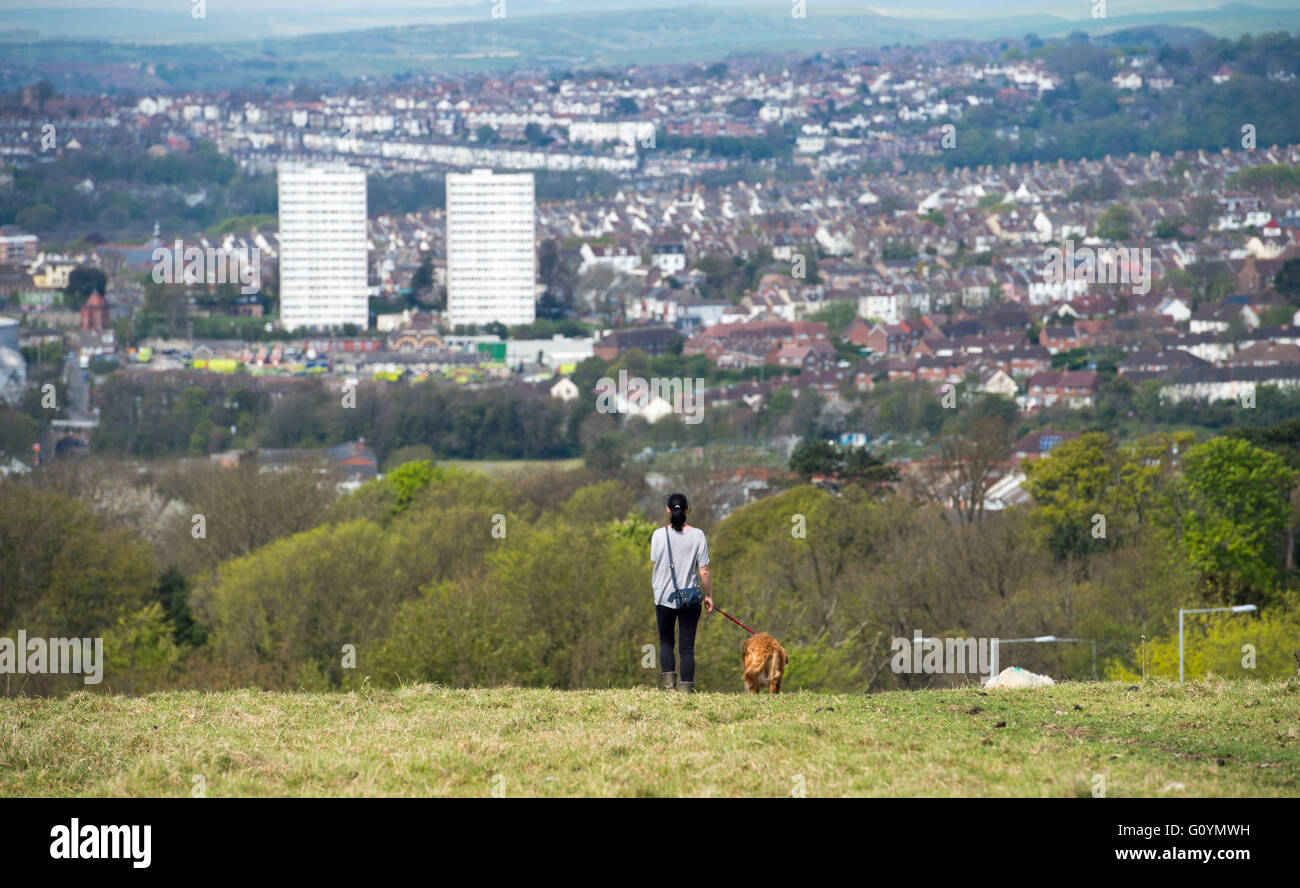 Brighton UK 6th May 2016  - A young woman takes her dog for a morning walk across Tenantry Down in Brighton enjoying - Stock Image