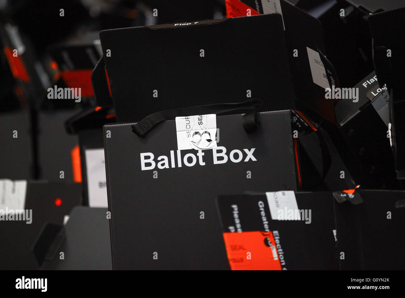 Alexandra Palace, London 6 May 2016 - The counting of the ballot papers for the Mayor of London and the London Assembly - Stock Image