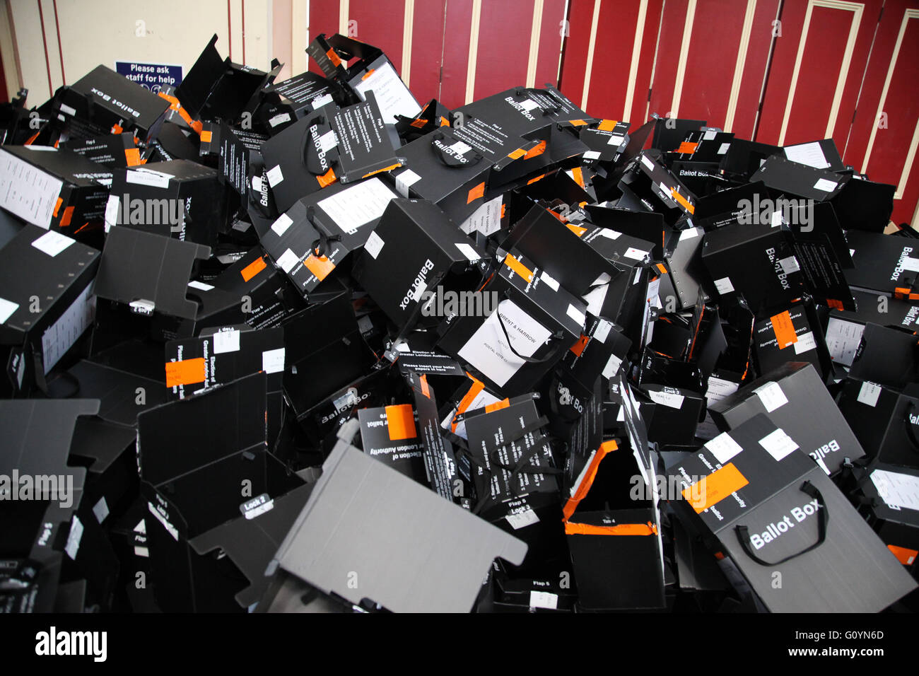 Alexandra Palace, London 6 May 2016 - Opened Ballot boxes  - The counting of the ballot papers for the Mayor of - Stock Image