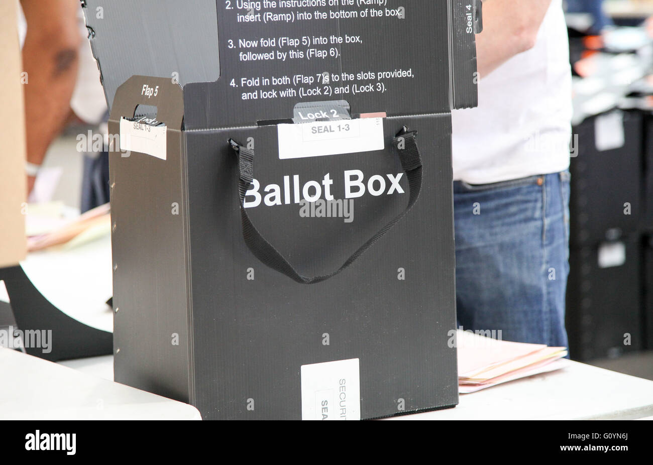 Alexandra Palace, London 6 May 2016 - Ballot box - The counting of the ballot papers for the Mayor of London and - Stock Image