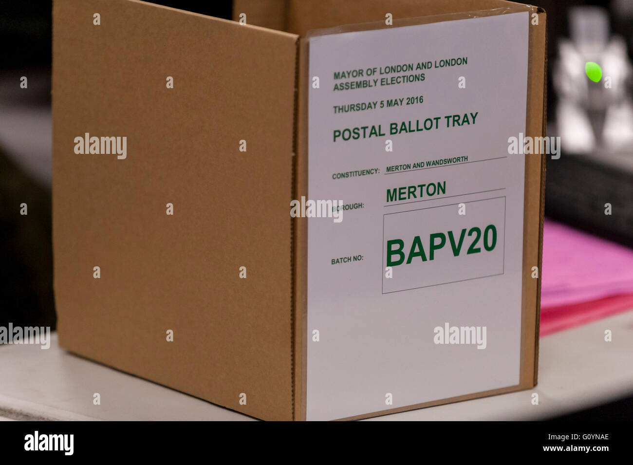 London, UK.  6 May 2016. A ballot box awaits processing. Votes for the London Mayoral elections and London Assembly - Stock Image
