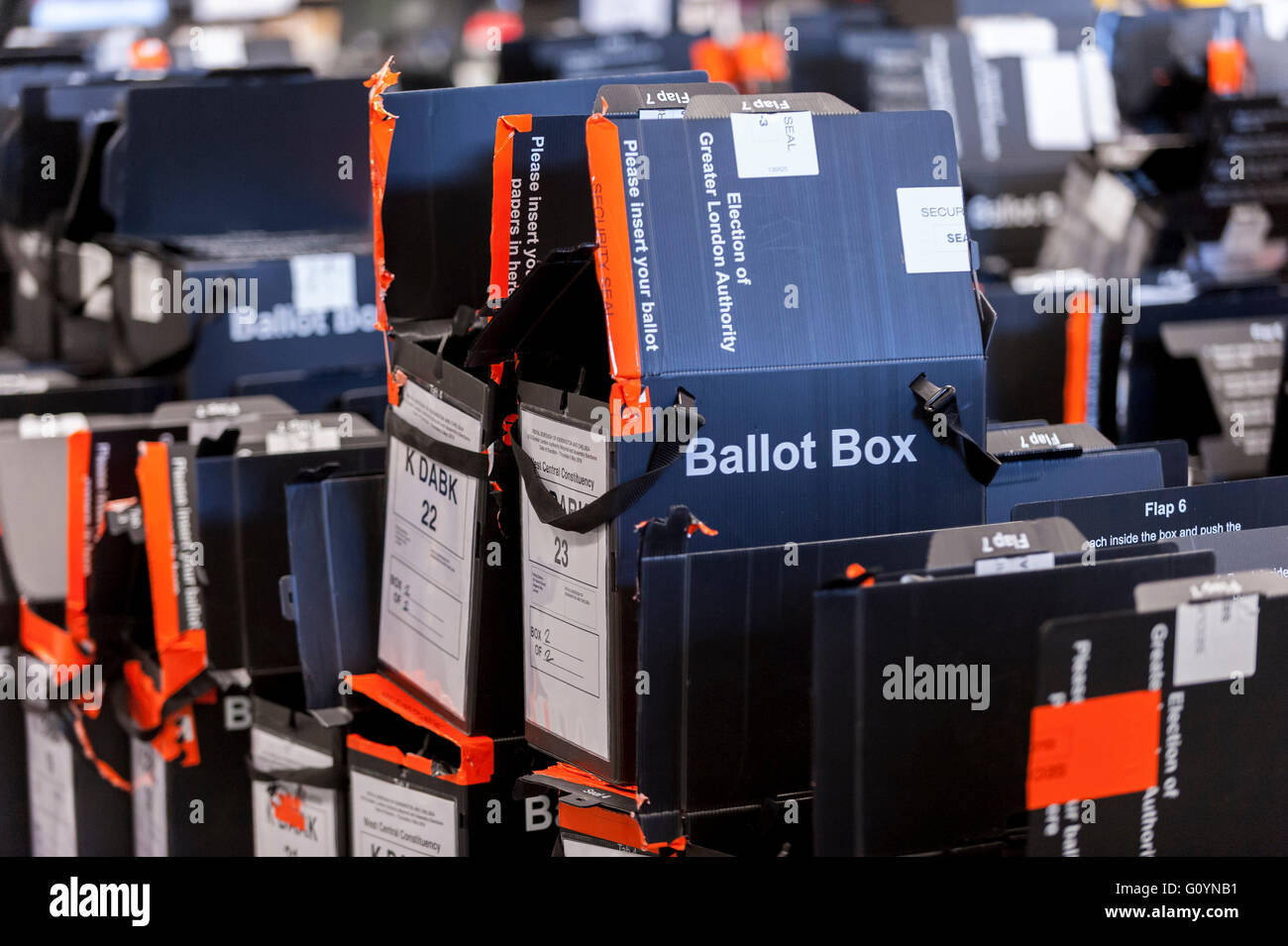 London, UK.  6 May 2016.  Ballot boxes awaiting collection.  Votes for the London Mayoral elections and London Assembly Stock Photo