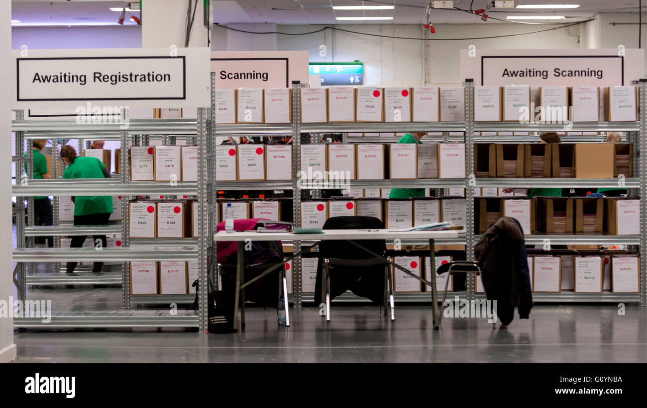 London, UK.  6 May 2016. Ballot boxes stacked on shelves await processing. Votes for the London Mayoral elections - Stock Image
