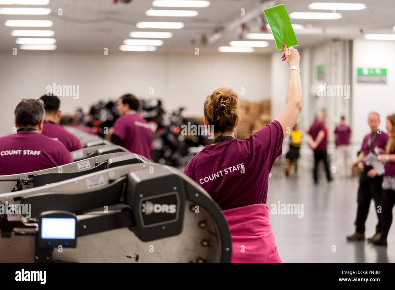 London, UK.  6 May 2016. A counter signals for another ballot box to be fed into her automated counting machine. - Stock Image
