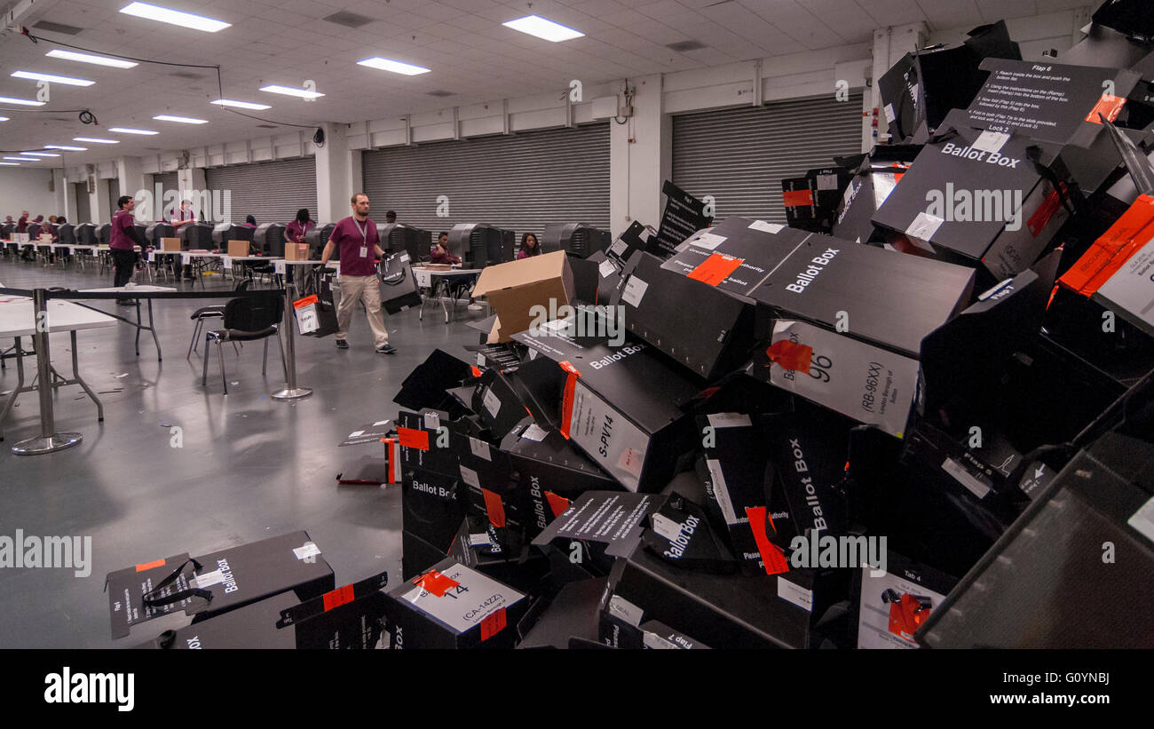 London, UK.  6 May 2016. Stacks of empty ballot boxes await collection. Votes for the London Mayoral elections and - Stock Image
