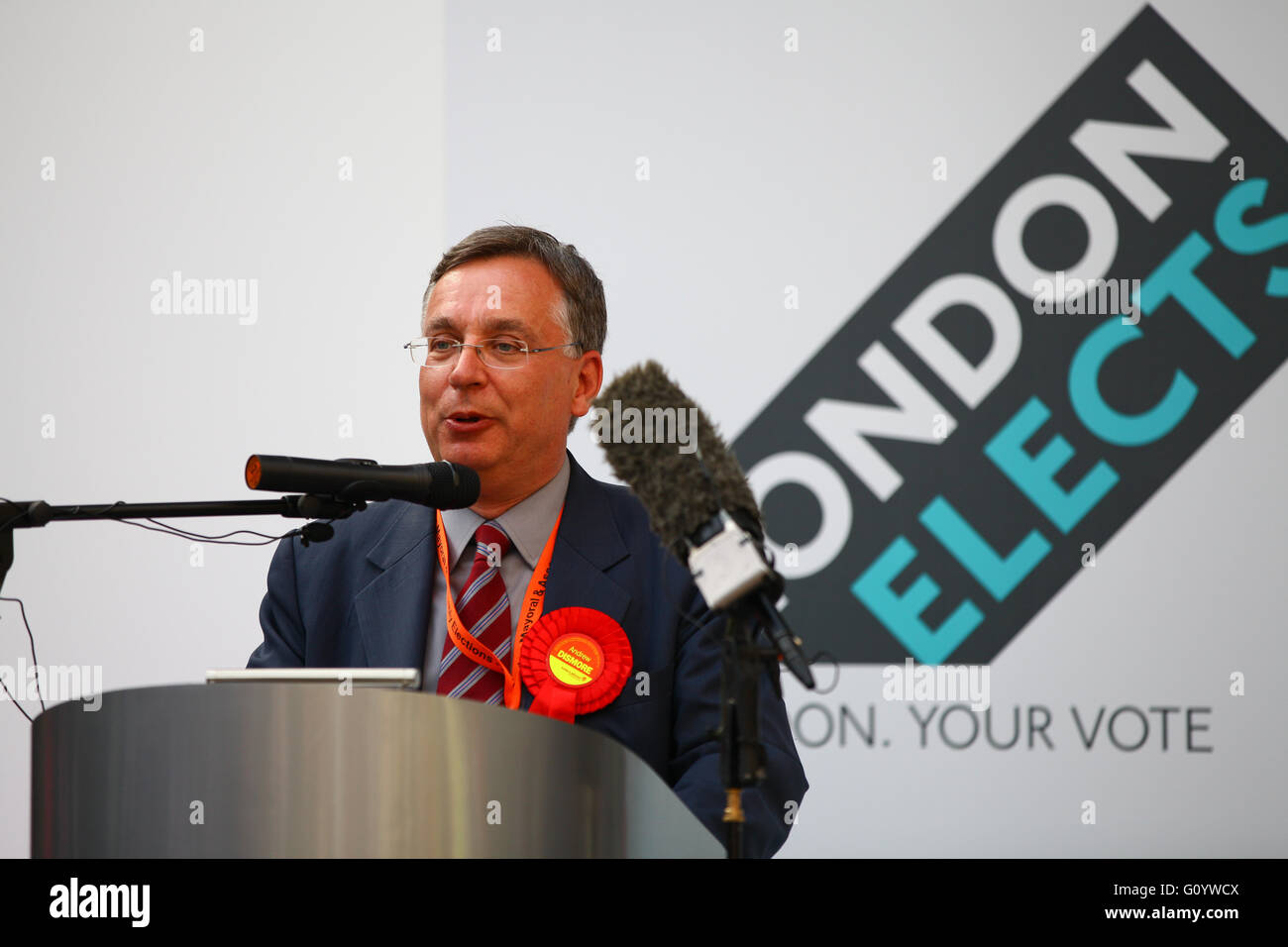 Alexandra Palace, London 6 May 2016 - Andrew Dismore holds onto Barnet and Camden seat at London elections. Mayor - Stock Image