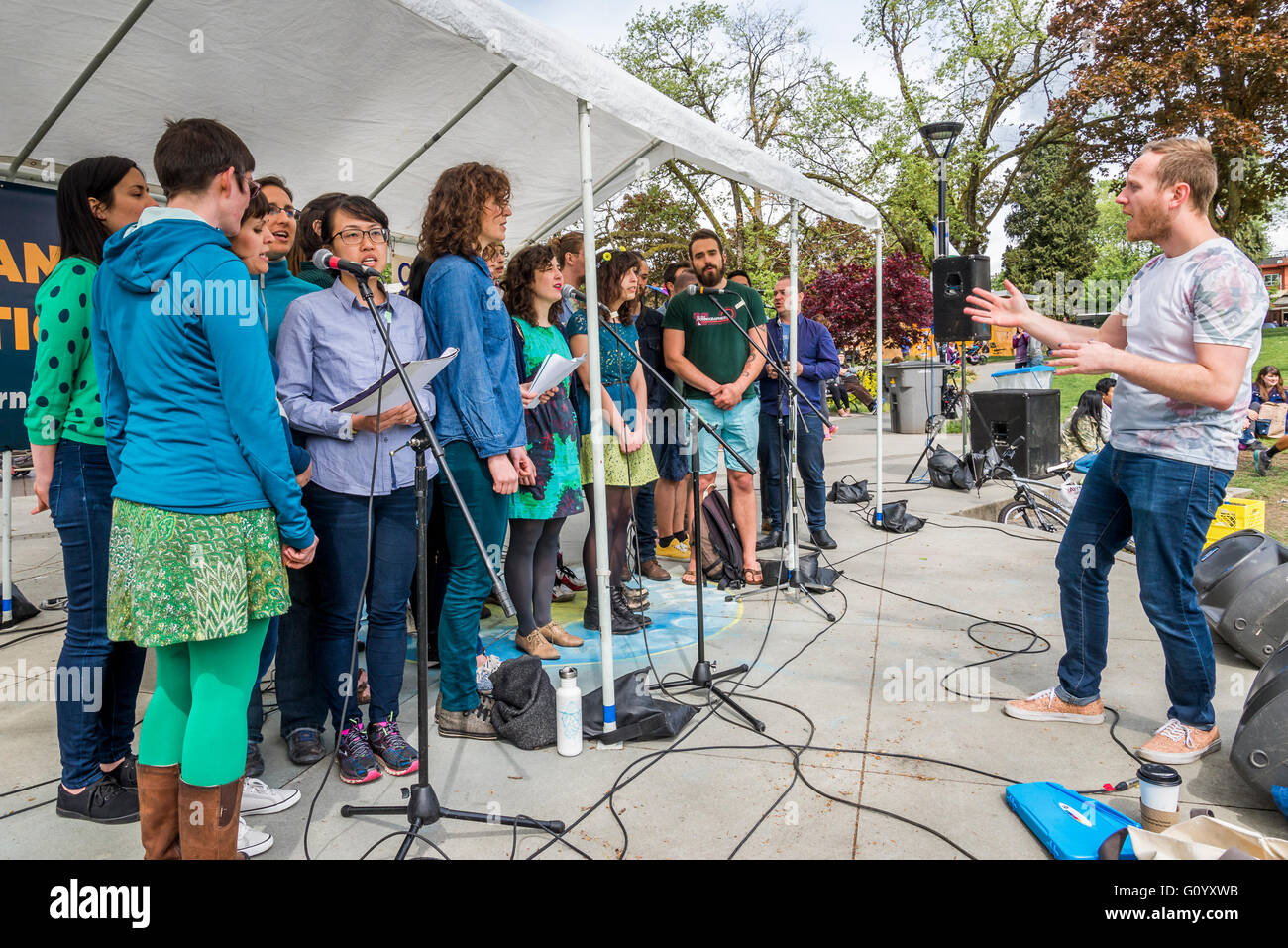 Choir performance, Earth Day, Vancouver, British Columbia, Canada - Stock Image