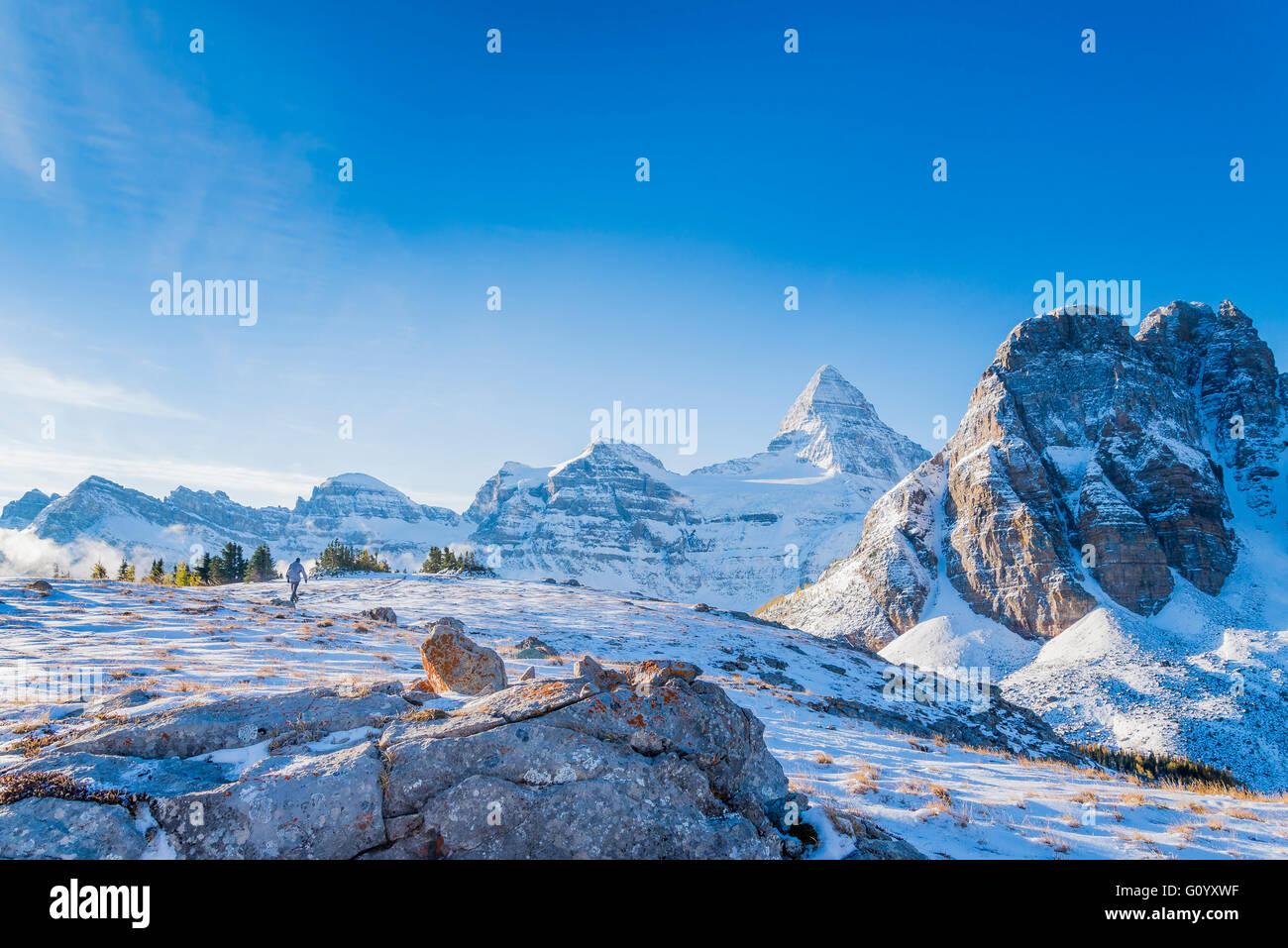 Mount Assiniboine and Sunburst Peak, Mount Assiniboine Provincial Park, British Columbia, Canada - Stock Image