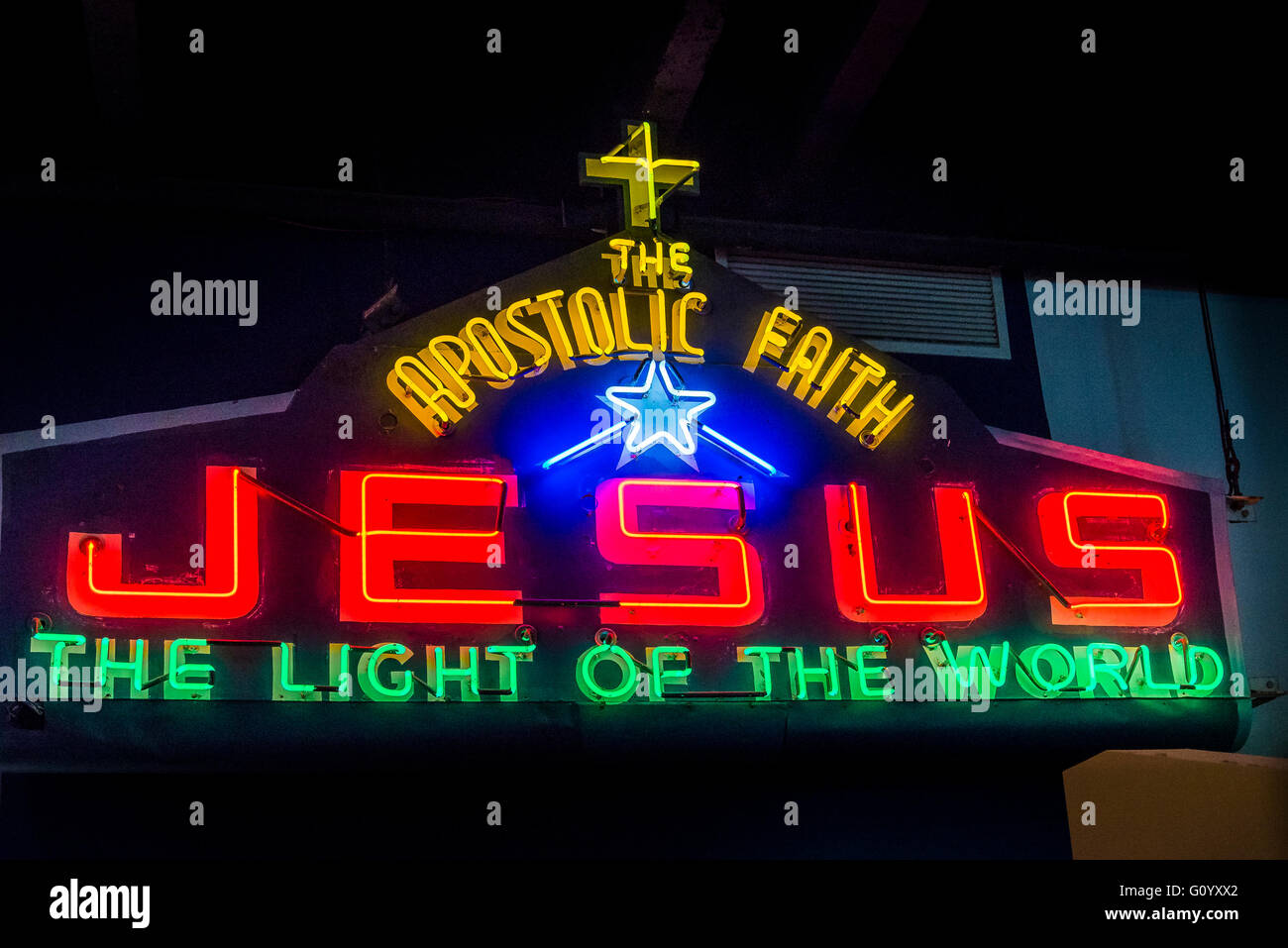 Jesus Apostolic Faith, vintage Neon sign MOV, Museum of Vancouver, Vancouver, British Columbia, Canada - Stock Image