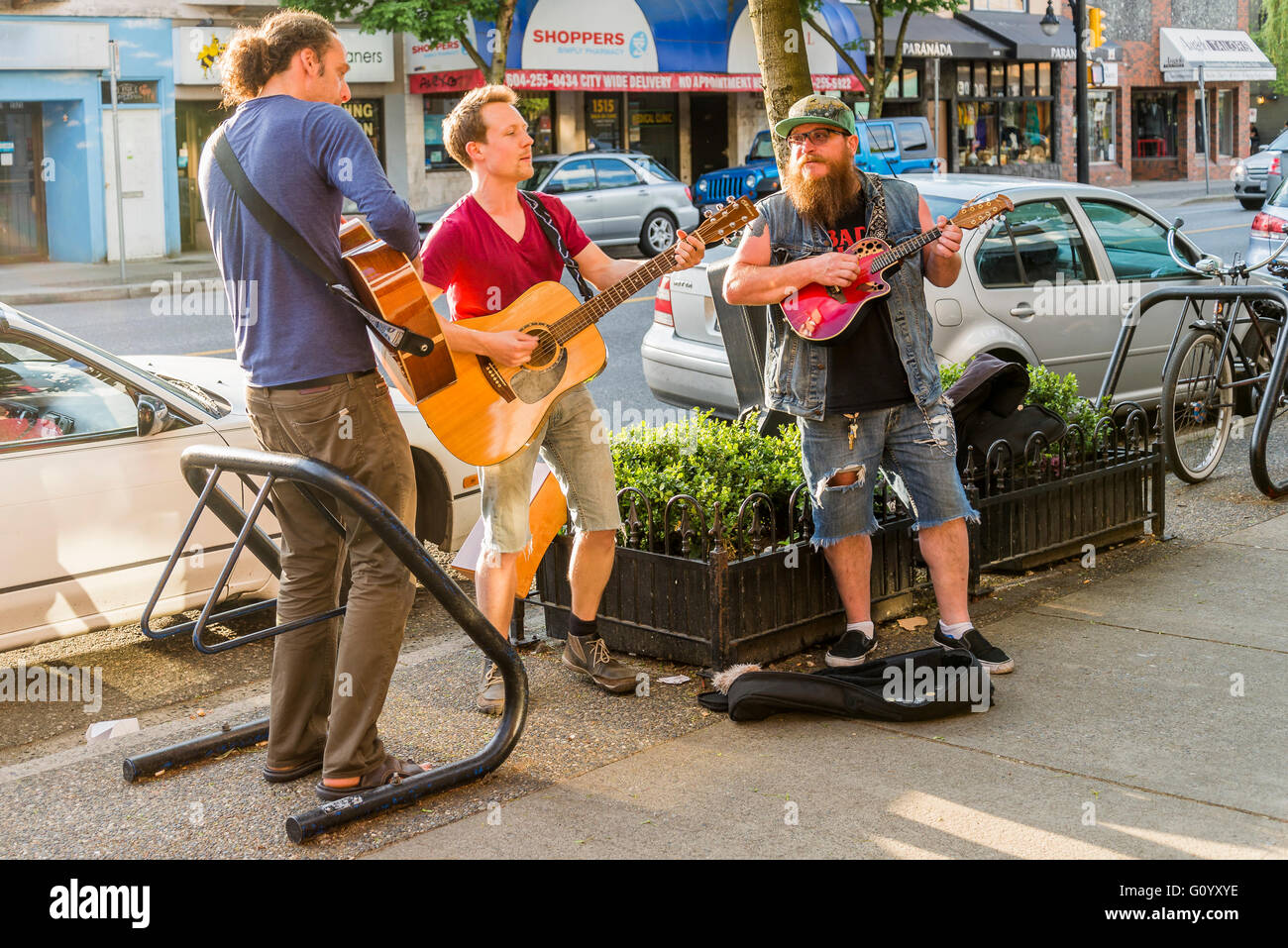 Buskers, Commercial Drive Neighbourhood, Vancouver, British Columbia, Canada, - Stock Image