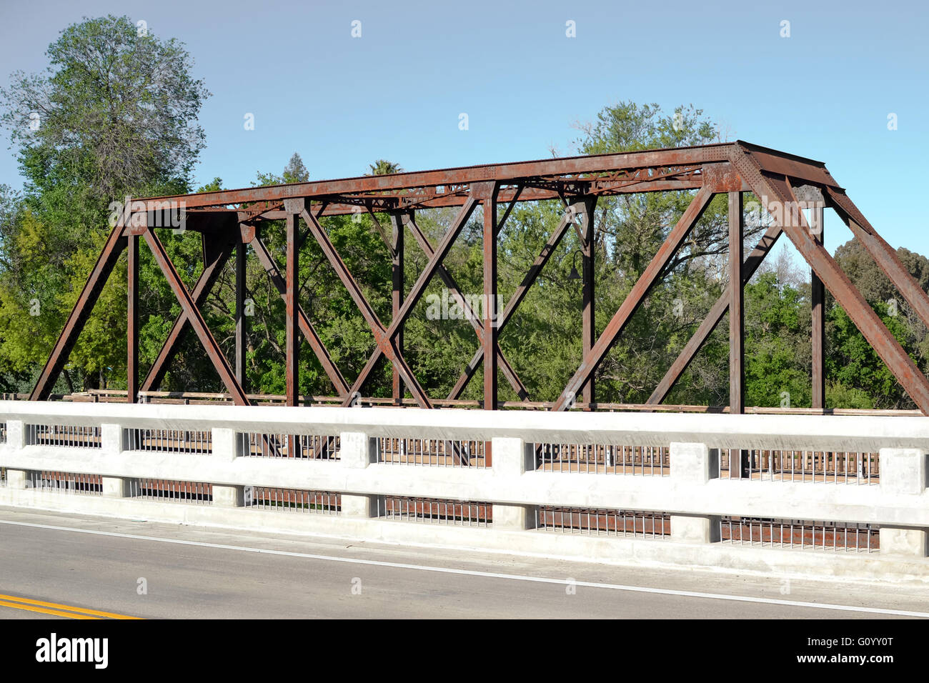 Panoramic view of Winters Vaca Valley Railroad Bridge from Railroad ave - Stock Image