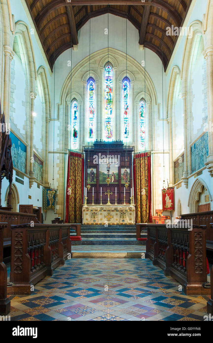 The interior of Cathedral of St. Michael and St. George in Grahamstown, South Africa - Stock Image