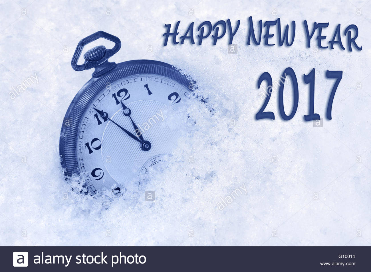 happy new year 2017 greeting in english language greeting card pocket watch in snow greeting card 2017