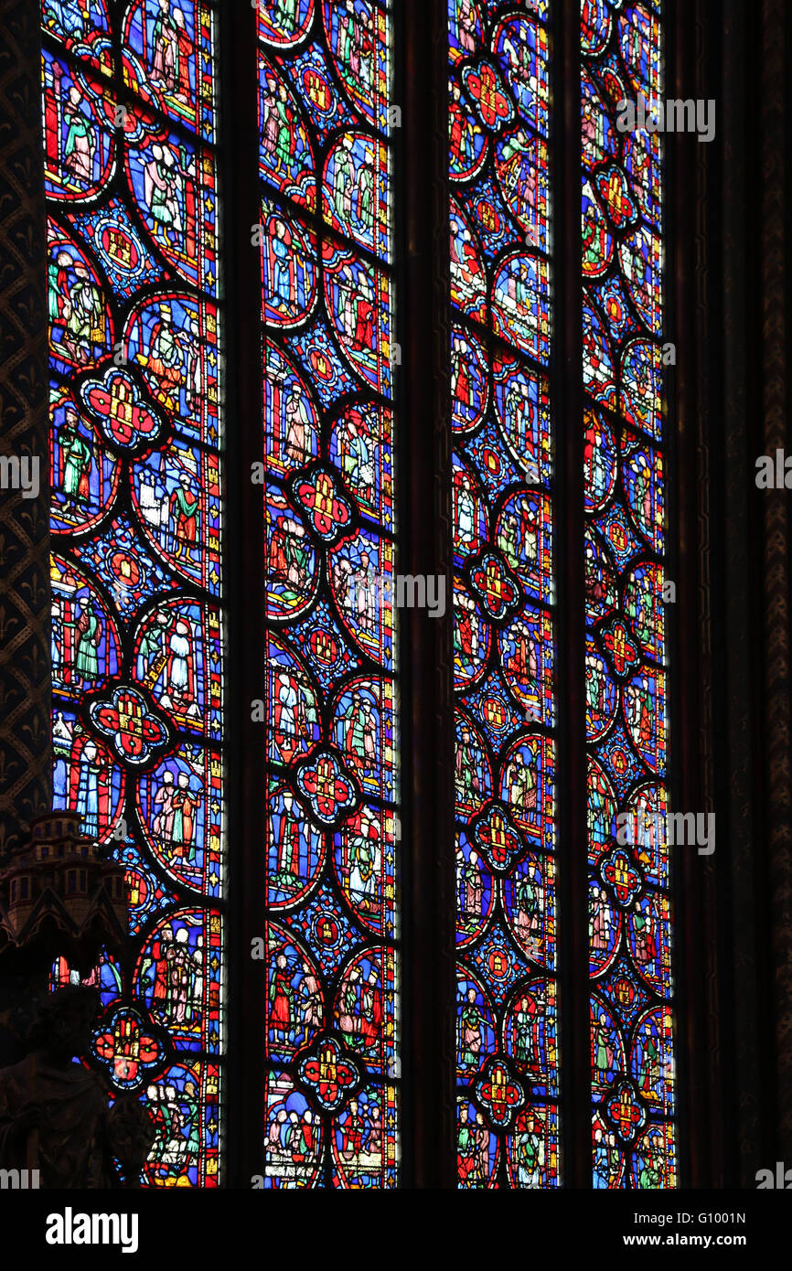 Stained glass. Upper chapel of La Sainte-Chapelle (The Holy Chapel). 1248. Paris. France. Gothic. - Stock Image