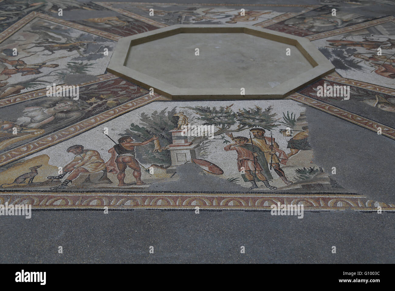 Mosaic of the Four Seasons. C. 325 AD. Found in Daphne (now Antakya, Turkey).  Offering to the goddess Diana. Louvre - Stock Image