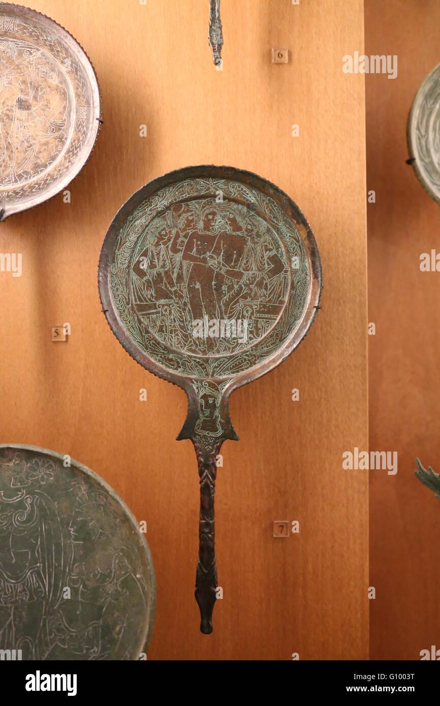 Etruria. Bronzes. Mirror. Engraved decoration. 4th-3rd century BC. Judgement of Paris. Italy. Louvre museum. - Stock Image