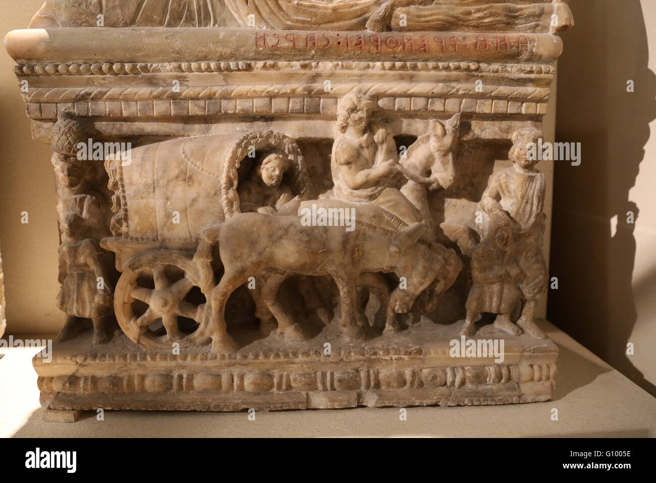 Etruria. Funerary urn. Voyage in capentum (carriage). 1st-2nd century BC. Volterra, Italy. Louvre Museum. Paris. - Stock Image
