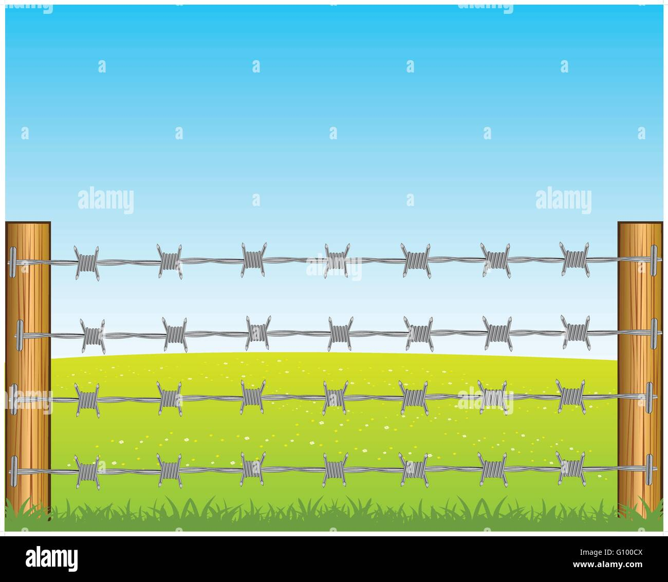 The Year field and poles with barbed wire.Vector illustration - Stock Vector