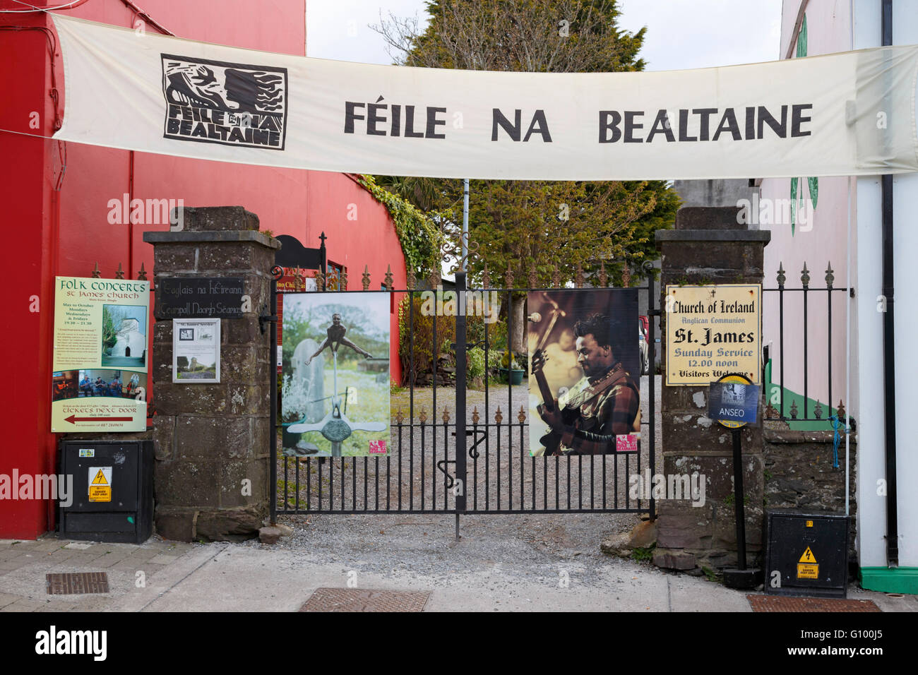 Dingle, Co. Kerry, Ireland, Banner of Féile Na Bealtaine, the Music & Arts Festival, which  takes place - Stock Image