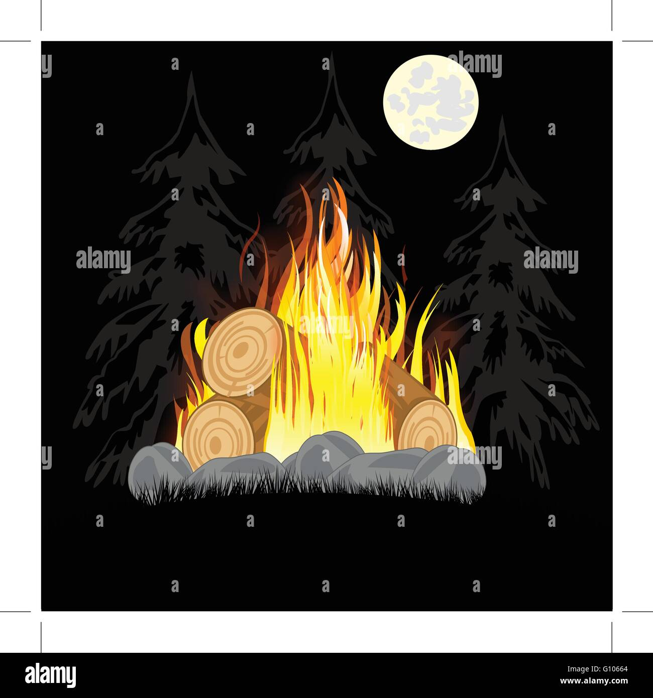 Illustration campfires in the night in wood on glade - Stock Image